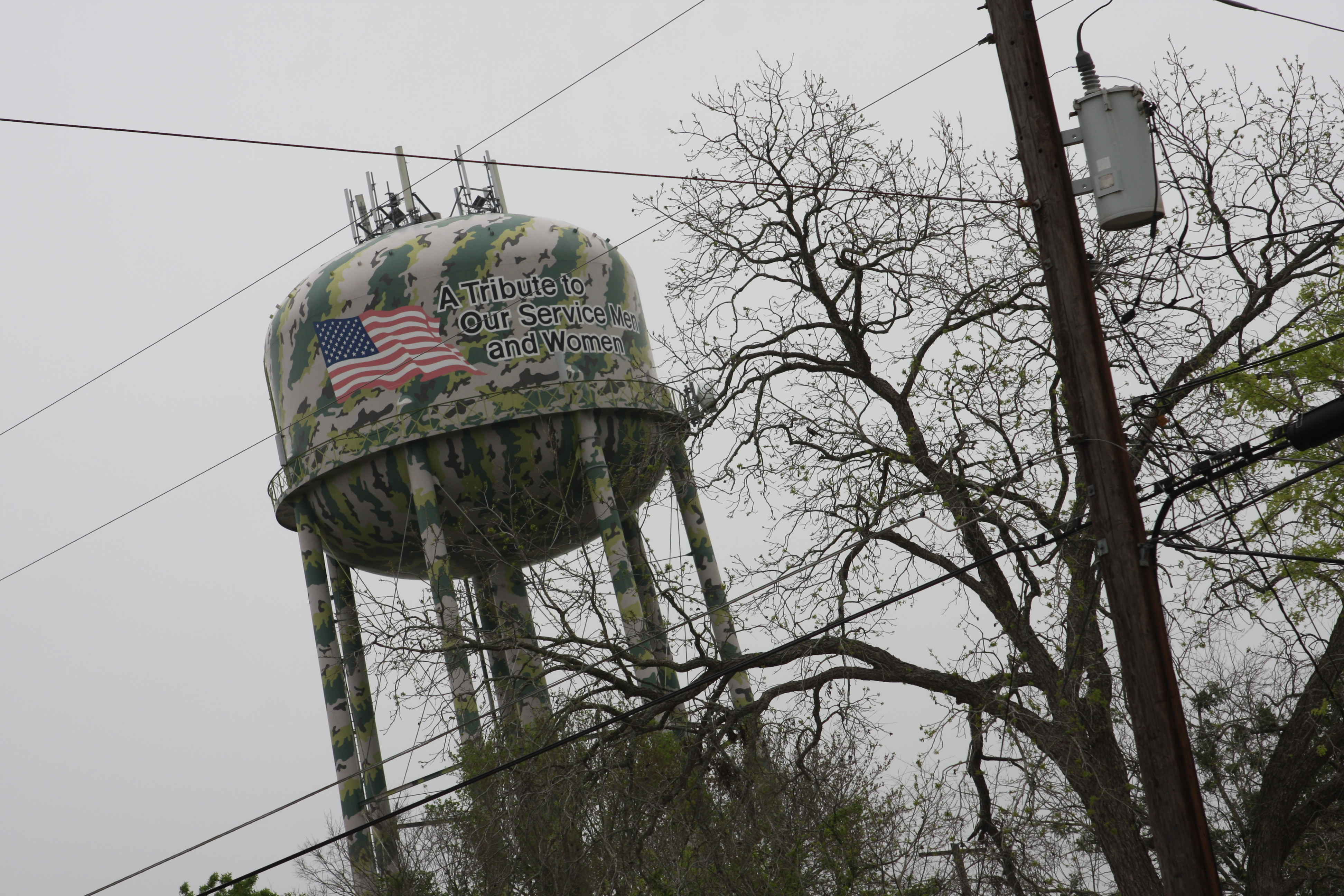 A patriotic water tower in a Texas town.