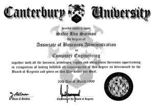 Canterbury Certificate