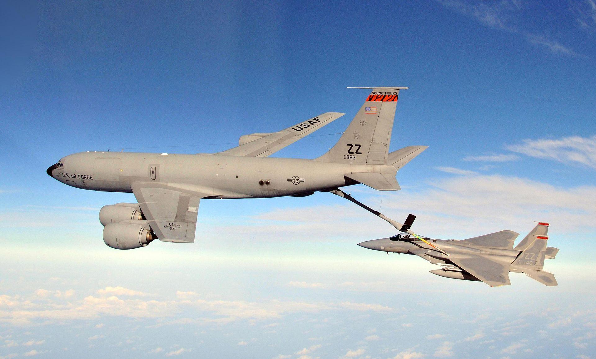 KC-135 Stratotanker refuels F-15C Eagle