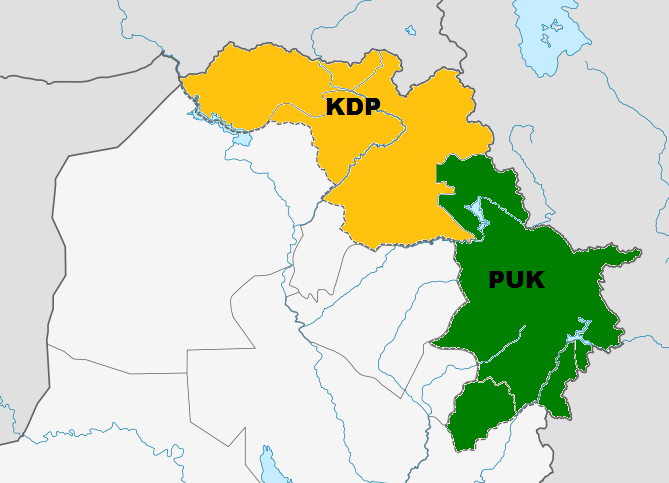 KDP and PUK controlled areas of Kurdistan