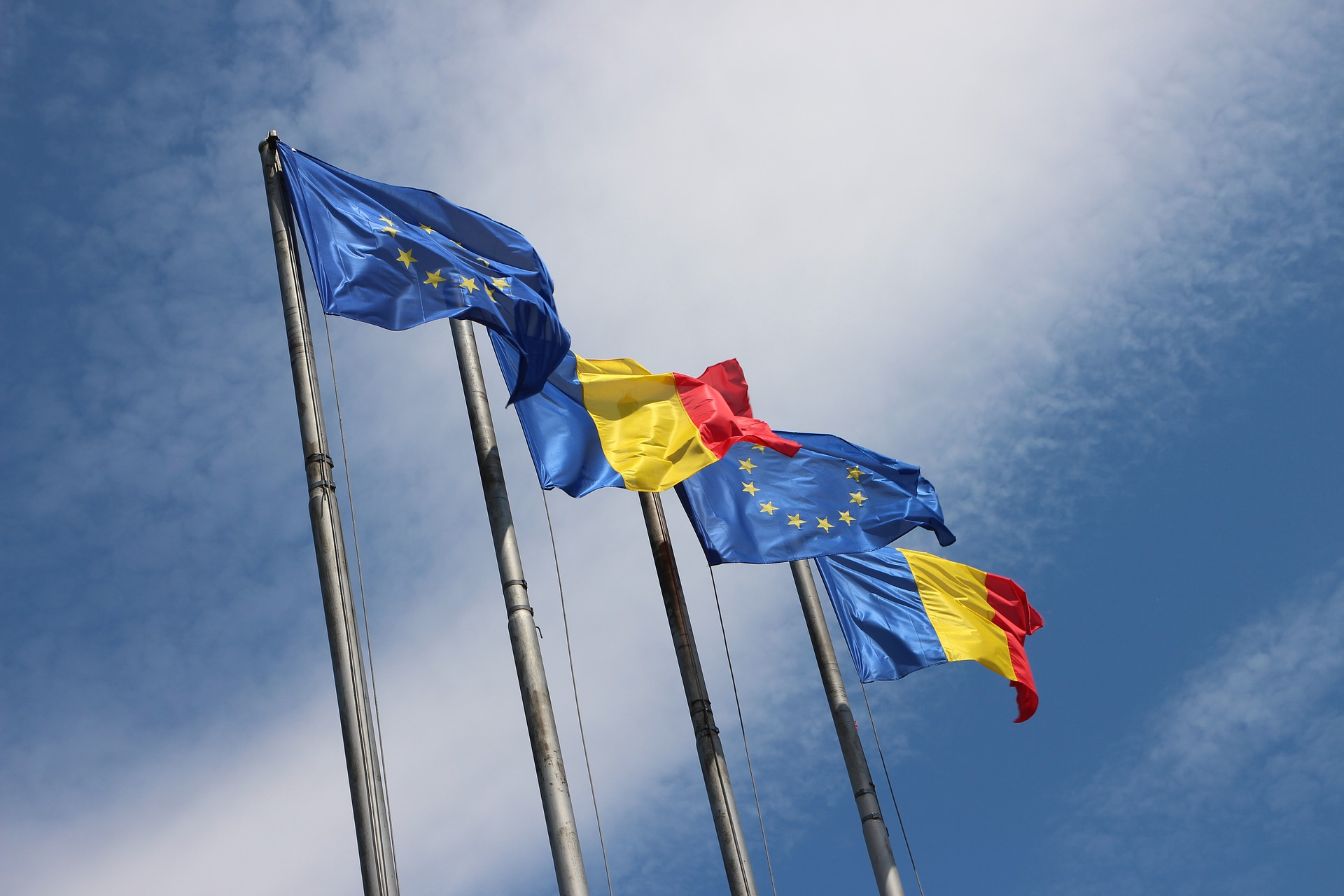 Romania and EU flags