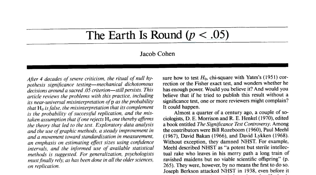 The Earth Is Round (p < .05)