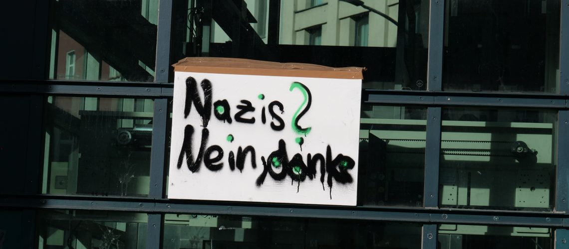 Protest against far right demonstration in Berlin.
