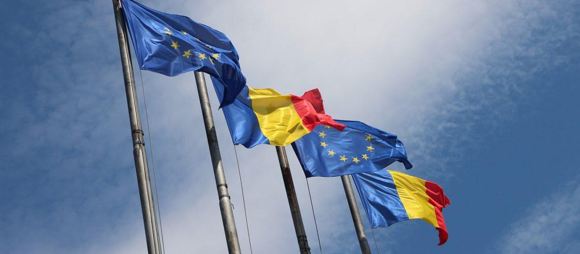Romania and EU flags